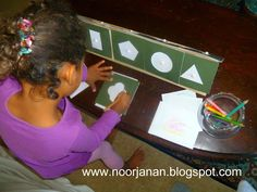 How to Make Your Own Montessori Materials (Photo from http://noorjanan.blogspot.com/2011/12/geometric-shapes-shelf.html Roundup post from http://livingmontessorinow.com/2010/09/23/how-to-make-your-own-montessori-materials/)