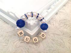 Personalized beaded bracelet, Personalized jewellery, Beaded name bracelet bangle, Personalized bangle, Beaded jewellery Handmade dark blue by AwesomeBabiesShop on Etsy