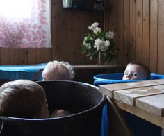 To help regulate the sauna heat with the very young, children often sit on floor in tubs of water. Young Children, Tubs, Finland, Roots, Flooring, Water, Style, Bathtubs, Gripe Water