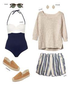 beige knit sweater, striped shorts.
