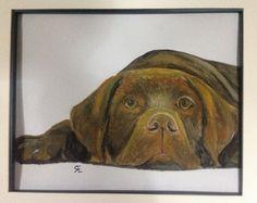 My friends birthday gift Watercolour chocolate Labrador.
