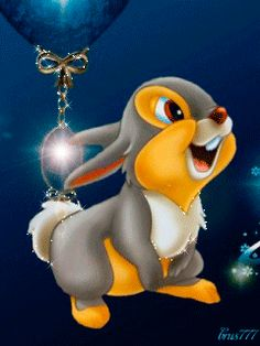 Walt Disney Thumper_ JUANITA PEACHLAND.♡♡♡♡♡ Disney Cartoon Characters, Disney Films, Disney Cartoons, Disney Magic, Disney Art, Walt Disney, Gifs, Bambi And Thumper, Glitter Gif