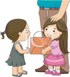 iCLIPART - Royalty Free Clipart Image of a Nicely Dressed Girl Giving Something to a Girl in a Patched Dress