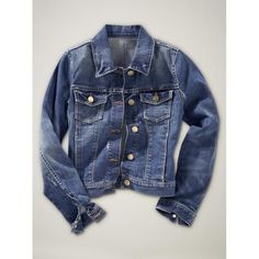 Gap Stretch Denim Jacket ($25) ❤ liked on Polyvore featuring outerwear, jackets, tops, chaquetas, kids, long sleeve jacket, blue jean jacket, gap jacket, blue jackets and jean jacket