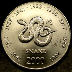 2000 SOMALIA 10 Shilling SNAKE SIGN of the ZODIAC COIN - A Gorgeous GEM!