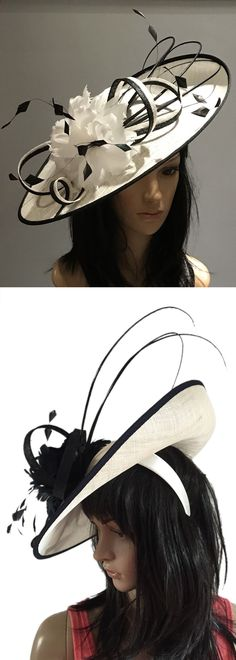 Black White Saucer fascinator hatinator hat for the Races or Mother of the  Bride. Royal 9d75c755c14a