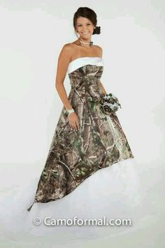 Camo Ball Gown shown in White Snowfall True Timber and White Net ...