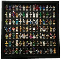 105 Lego Minifigures black edition black frame display