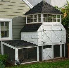 I'm thinking this needs to be our next chicken coop...I already have wood, extra shingles, etc. from our house...what if I add our black & white linoleum to the floor?  Wink.