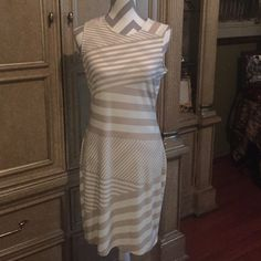 Calvin Klein sleeveless dress Calvin Klein sleeveless dress size 6 creme and beige design Calvin Klein Dresses