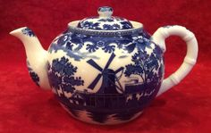 Unusual Signed VIntage Asian Blue White Windmill Ships Pattern Tea Pot