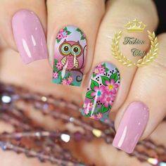 Cartoon Nail Designs, Nail Art Designs Images, Toe Nail Designs, Cute Short Nails, Trendy Nails, Owl Nails, Pretty Nail Art, Nail Polish Colors, Spring Nails