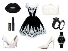 """""""lace fashion black"""" by dianka-donutek-jasanska on Polyvore featuring SJP, Christian Louboutin, Lime Crime, Topshop and Accessorize"""