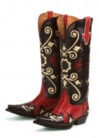 Lane Boots: black and red Margaret are calling my name! Western Wear, Western Boots, Head Over Boots, Boot Scootin Boogie, Black Cowboys, Cowgirl Boots, Cowboy Boot, Black White Red, Cool Boots