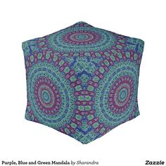Purple, Blue and Green Mandala Cube Pouf see my blog http://dormdec.blogspot.com for more dorm decor ideas