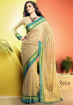 Cream Faux Georgette Saree With Blouse