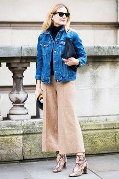 Lucy Williams in a denim Gap jacket + Zara culottes + Topshop boots.