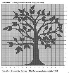 TONS of filet crochet patterns! ---Free Crochet Pattern - Filet Crochet Charts from the Filet crochet Free Crochet Patterns Category and Knit Patterns Crochet Tree, Crochet Cross, Tapestry Crochet, Crochet Stitch, Knit Crochet, Tunisian Crochet, Cross Stitch Tree, Cross Stitch Charts, Cross Stitch Embroidery