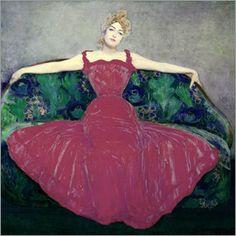 Maximilian Kurzweil - Dame im Fuchsiafarbenen Kleid