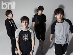 Hip-Hop Team (L to R): Vernon, S.Coups, Wonwoo, Mingyu    #Mingyu looks really good in this picture