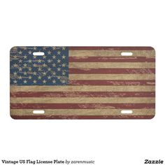 Vintage US Flag License Plate - Car Floor Mats License Plates, Air Fresheners, and other Automobile Accessories