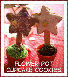 Not one for dieters: cakes and biscuits in one gorgeous flower pot shaped package. Perfect for a Summer birthday party. Flower Pot Cake, Flower Cookies, Flower Pots, Flowers, Cute Cookies, Cupcake Cookies, Cookie Cakes, Art Activities For Kids, Crafts For Kids