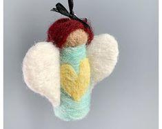 Needle Felting . Crochet . Ornaments . by LittlechickadeeStore Owl Ornament, Bird Ornaments, Cat Lover Gifts, Cat Gifts, Gifts For Sports Fans, Crochet Ornaments, Felt Birds, Baby Owls, Felt Ball