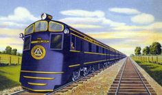 """Chicago & Alton """"Abraham Lincoln"""". #50, a pioneer Baltimore & Ohio passenger diesel and a set of lightweight passenger cars. The diesel, originally a boxcab, was given a """"shovel nosed"""" streamlined shroud."""