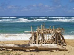 Fun free Kauai activity building forts with driftwood - www.kauai.com