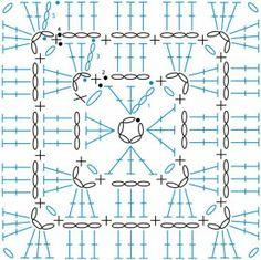 Transcendent Crochet a Solid Granny Square Ideas. Inconceivable Crochet a Solid Granny Square Ideas. Crochet Squares, Point Granny Au Crochet, Crochet Motifs, Crochet Blocks, Granny Square Crochet Pattern, Crochet Chart, Crochet Diagram, Crochet Doilies, Crochet Stitches
