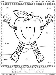 math worksheet : here s a color cord page for practicing basic addition facts  : Addition Puzzle Worksheets