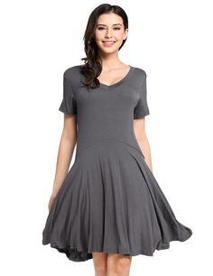 Dark gray Womens Casual Short Sleeve Comfy Loose Tunic Top