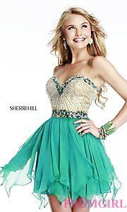Buy Short Strapless Sherri Hill Dress at PromGirl