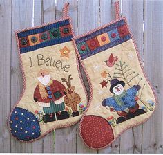 Santa& Christmas Stockings - Santa and Snowman by Suzanne Gray - Punch with Judy Quilted Christmas Stockings, Christmas Patchwork, Christmas Quilt Patterns, Christmas Stocking Pattern, Felt Stocking, Xmas Stockings, Christmas Sewing, Primitive Christmas, Felt Christmas
