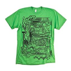 Circuit T-shirt: Show your stripes with this super fabulously geeky printed circut board t-shirt. www.http://dolphin-browser.com/2012/12/12-best-geek-gifts/