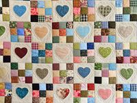 Green and Multicolor Hearts and Nine Patch Quilt