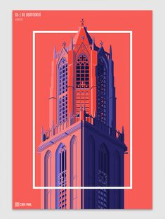 The Dom Tower of Utrecht is the tallest church tower in the Netherlands at metres. The tower was part of the Cathedral of Saint Martin and was built Graphic Design Art, Graphic Design Illustration, Graphic Design Inspiration, Creative Illustration, Building Illustration, City Illustration, Plakat Design, Photoshop Design, Portfolio