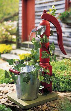 pump, vine, pail garden ornament