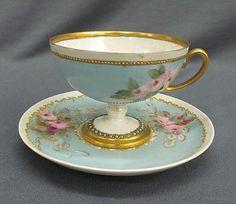 Ooooooo... pretty! Hand Painted Raised Tiny Dot Jewels, Roses Cup & Saucer