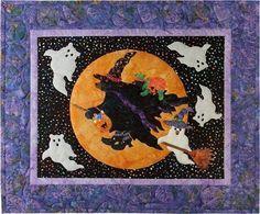 Halloween Quilt Patterns, Halloween Quilts, Halloween Cards, Halloween 2019, Quilt Kits, Quilt Blocks, Laser Cut Fabric, Applique Quilt Patterns, Happy October