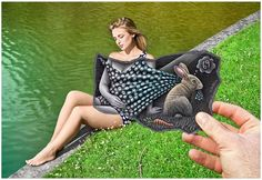 """Belgian artist Ben Heine blends photography and pencil sketches to create imaginary scenes. """"Pencil Vs Camera"""" mixes drawing and photography, imagination and reality. It's a new visual concept invented, initiated and popularized by Ben Heine. Pencil Camera, Camera Art, 3d Pencil Drawings, Pencil Art, Charcoal Drawings, Ipad Art, Amazing Optical Illusions, Ben Heine, Portraits"""