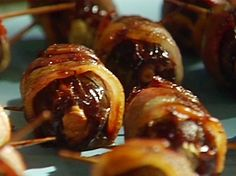 Bacon-Wrapped Dates Stuffed with Cream Cheese and Almonds Recipe : Emeril Lagasse : Food Network - FoodNetwork.com