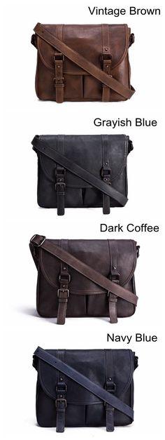 Image of Handmade Vegetable Tanned Leather Men's Messenger Bag, Shoulder Bag, Satchel Bag 9042