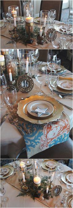 little miss lovely floral design // brass candles nautical fern babys breath centerpiece @misslovely @lighthousesound