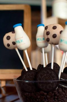 Milk & Cookies cake pops! Cookies and Milk themed 1st Birthday Party Full of REALLY CUTE Ideas via Kara's Party Ideas | KarasPartyIdeas.com