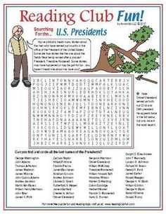 U.S. PRESIDENTS - find and circle the last names of all of the U.S. Presidents.