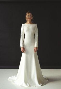 Mermaid crepe wedding dress Open back wedding dress Long | Etsy