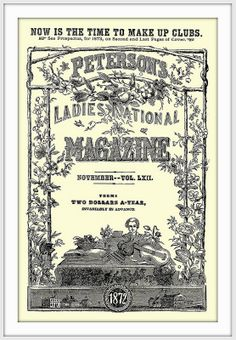 1872 November -  COVER - Peterson's Ladies National Magazine - (Terms, TWO DOLLARS A-YEAR