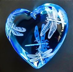 Hand Engraved Dragonfly heart valentine love glass by AkokoArt Dragonfly Art, Dragonfly Jewelry, Dragonfly Quotes, I Love Heart, Crystal Gifts, Glass Paperweights, Blenko Glass, Etched Glass, Love Blue