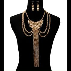 Multilayered Chain Necklace & Earring Set